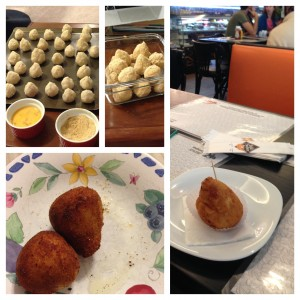 My short history with coxinha: my attempts (left) vs. the real deal