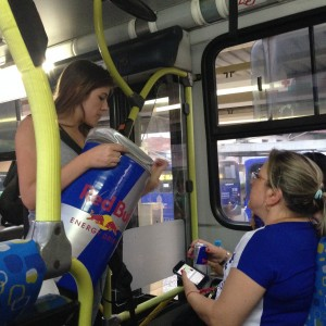 The city is running out of water just as temperatures are reaching the high 90s so free blueberry Red Bulls was a welcome surprise on the bus!